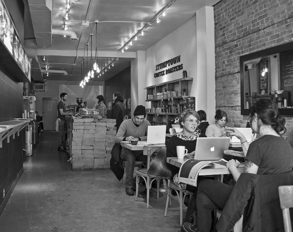 Laptops in coffee shop